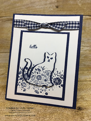 Stampin' Up! Spooky Cat with Stampin' Up! Wood Words. Created by Judy Hamen for Stamping to Share Sept. Demo Meeting Swap.