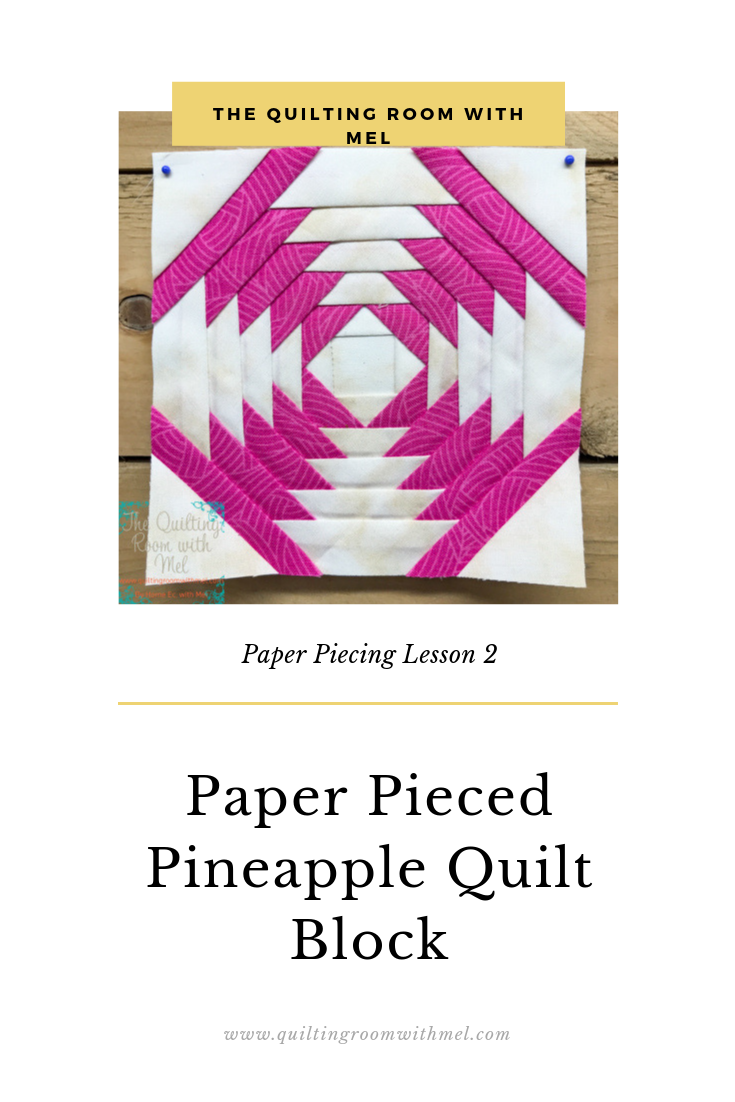 Paper pieced pineapple quilt block is the second lesson in our paper piecing series.  You'll learn how to make the block, get a pattern for a quilt, and learn how to measure pieces for paper piecing.