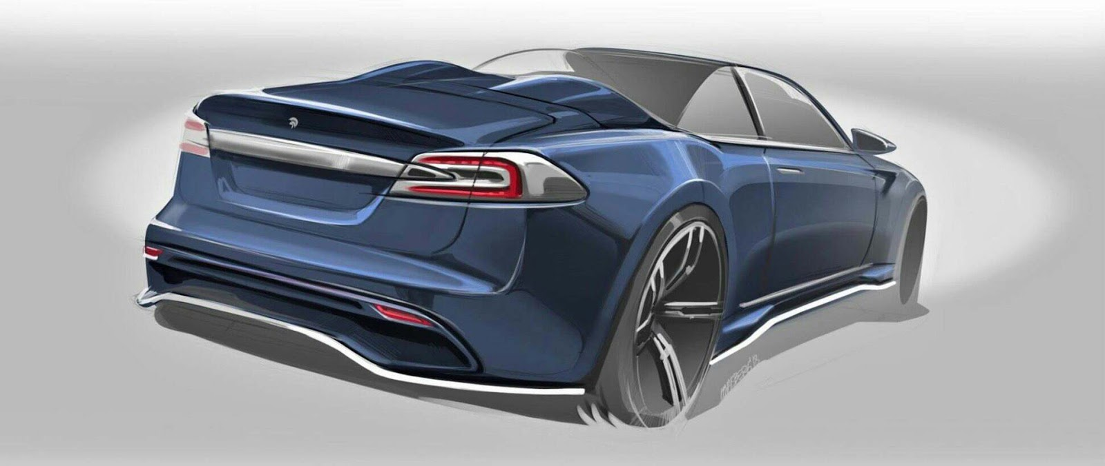 ARES Design made a sketch of a new Roadster Version of Tesla Model S