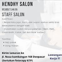 Lowongan Staff Salon Hendhy Salon Denpasar