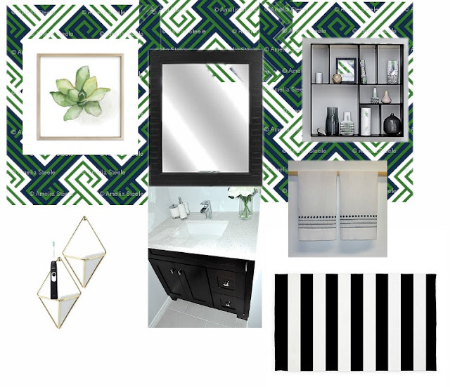 Small Modern Bathroom Inspiration - bold wallpaper
