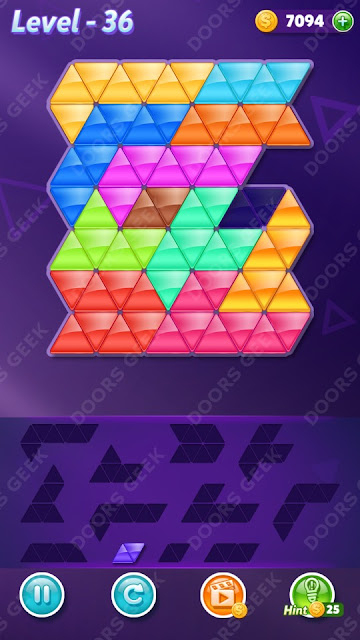 Block! Triangle Puzzle 12 Mania Level 36 Solution, Cheats, Walkthrough for Android, iPhone, iPad and iPod