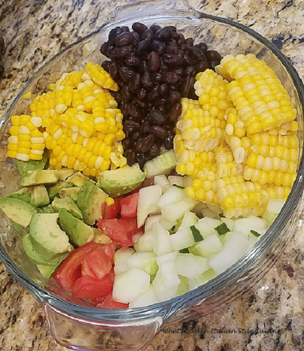 avocado black bean tomato cucumbers salad