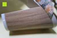 Holzmaserung: Alexis Leroy Blockabsatz Blume gedruckt Damen Offene Sandalen mit Keilabsatz