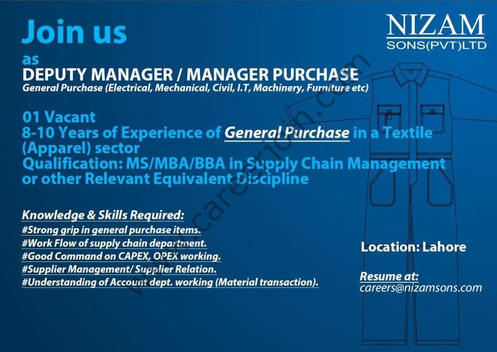 careers@nizamsons.com - Nizam Sons Pvt Ltd Jobs 2021 in Pakistan