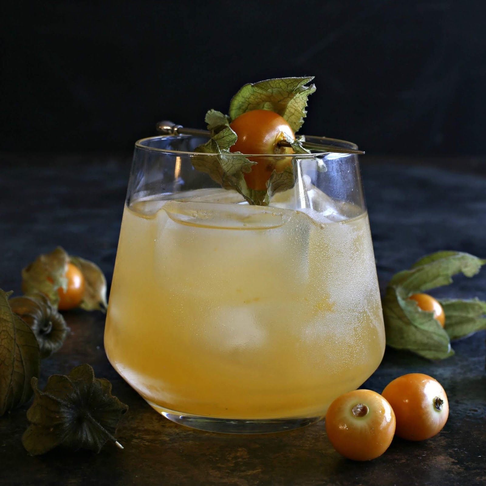 Gin cocktail flavored with fresh cape gooseberries and elderflower liqueur.
