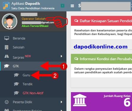 Klik menu GTK, kemudian klik Guru