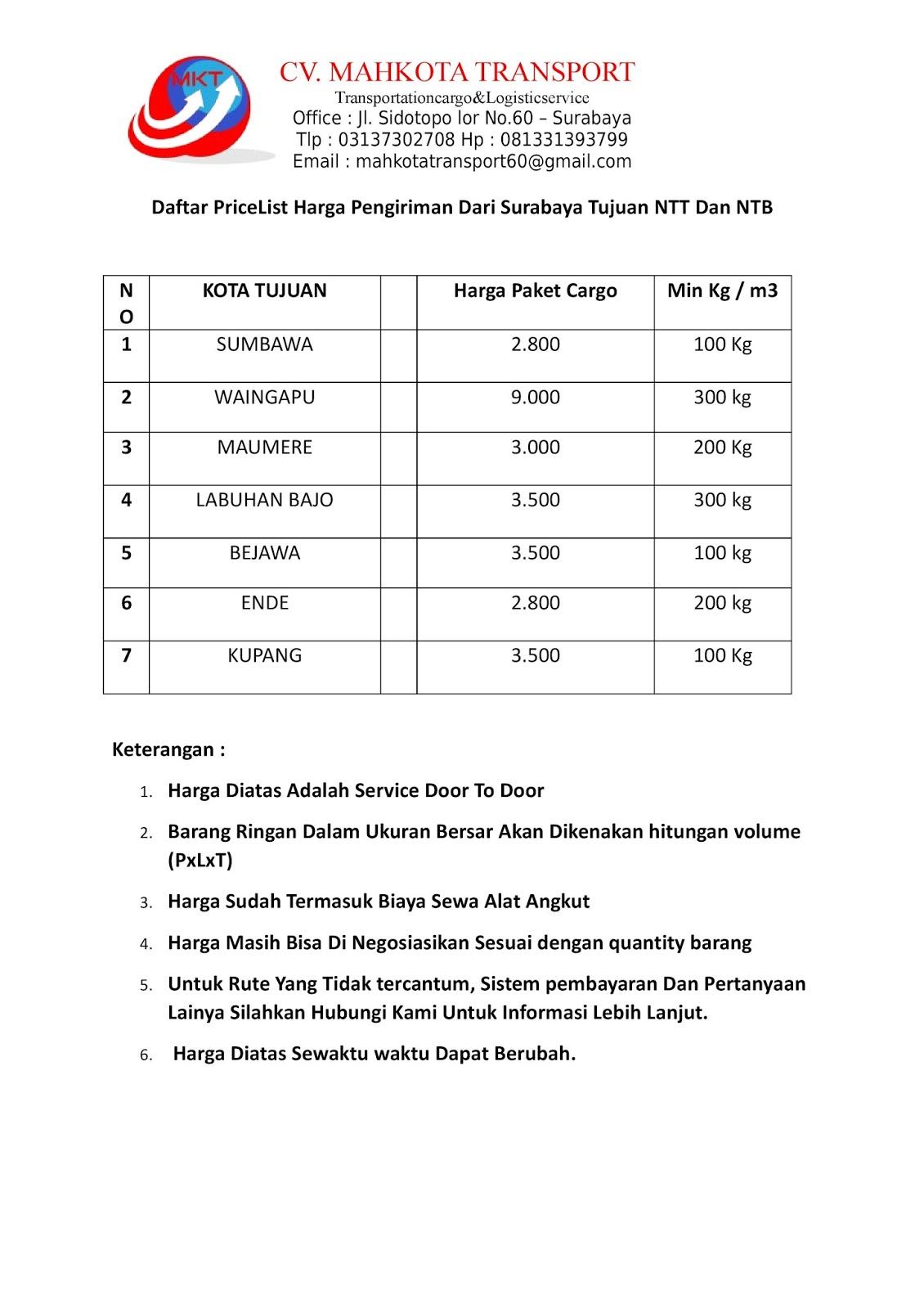Daftar Tarif Cv Mahkota Transport Ekspedisi Surabaya Balikpapan Ongkos Kirim Price List Harga Pengiriman Paket Barang Dari Tujuan Ntt Dan Ntb