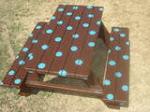 Teal polka dots picnic table $95