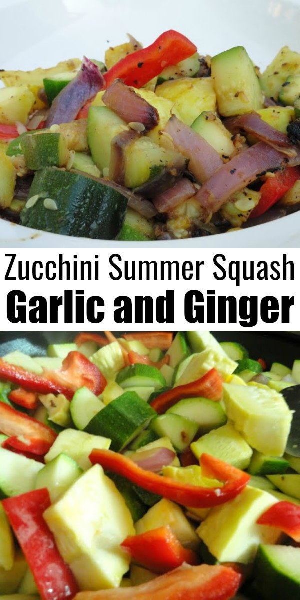 2 pictures the top picture is cooked Zucchini and Summer Squash in a white bowl and the bottom photo is uncooked zucchini, summer squash, bell pepper, garlic and ginger. Black Lettering between the two photos that says Zucchini Summer Squash Garlic and Ginger