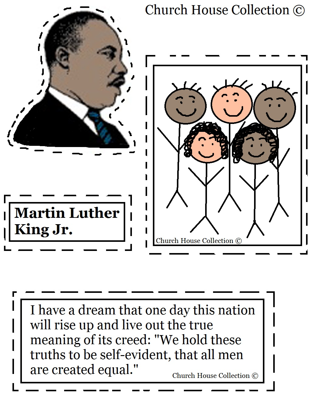 Martin Luther King Jr Coloring Pages For Kindergarten : Church house collection martin luther king jr craft