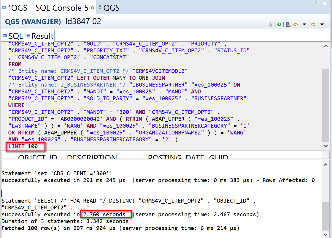 SAP ABAP Central: CDS view performance analysis using PlanViz in