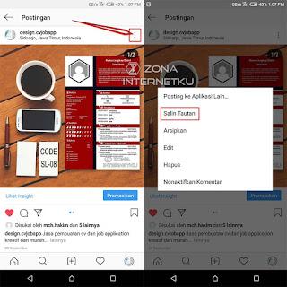 Cara Copy Link Instagram Untuk URL Postingan Foto Dan Video