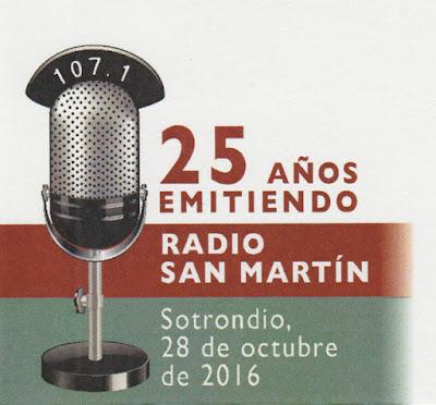 Dibujo del sobre para el matasellos de Radio San Martín, Sotrondio