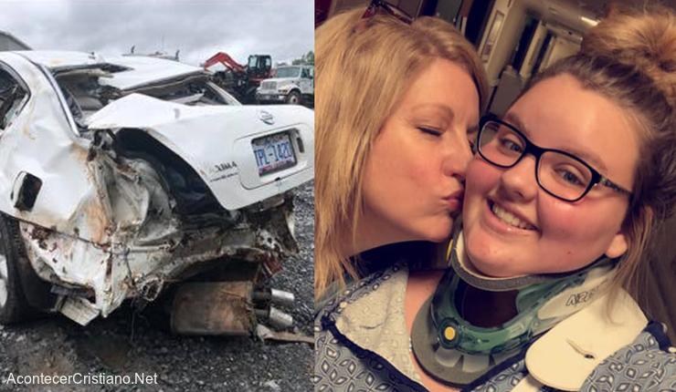 Mujer sobrevive en accidente automovilístico