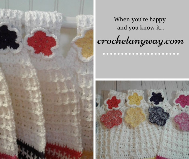 crocheted hanging dishtowels with flowers