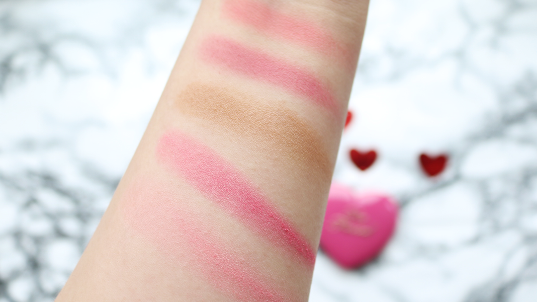 Too Faced Love Flush Blusher in How Deep Is Your Love?, Love Flush Blusher in Your Love Is King, Sweethearts Bronzer in Sweet Tea, Sweethearts Perfect Flush Blusher in There's Something About Berry & Sweethearts Perfect Flush Blusher in Candy Glow.