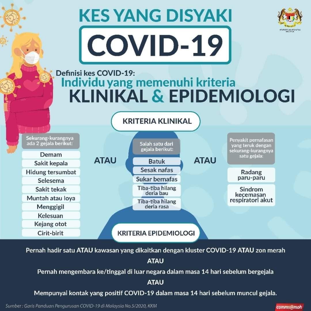 kriteria klinikal dan epidemiologi covid-19
