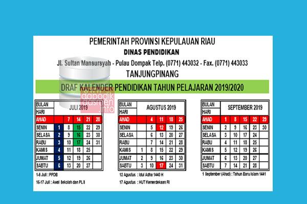 Kalender Pendidikan Provinsi Kepulauan Riau Tahun Pelajaran 2019/2020