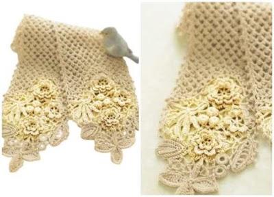 Bufanda de crochet con Apliques tutorial