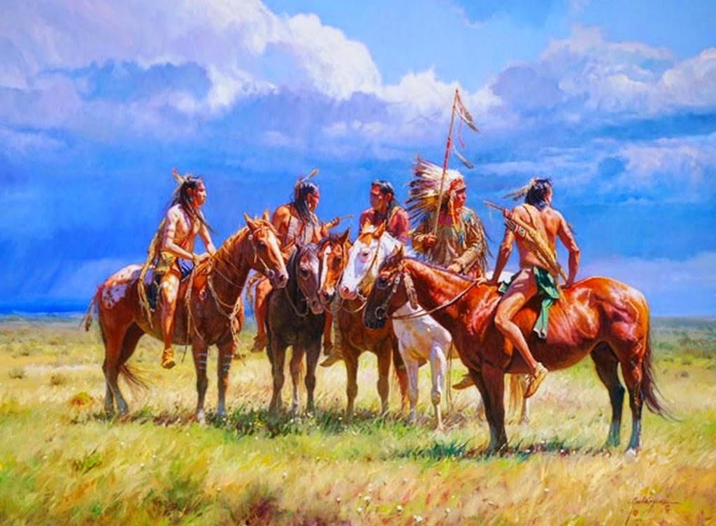 pinturas-paisajes-con-indios-y-caballos