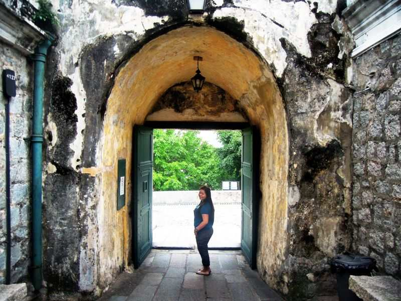 At Fortaleza do Monte's entrance in Macau