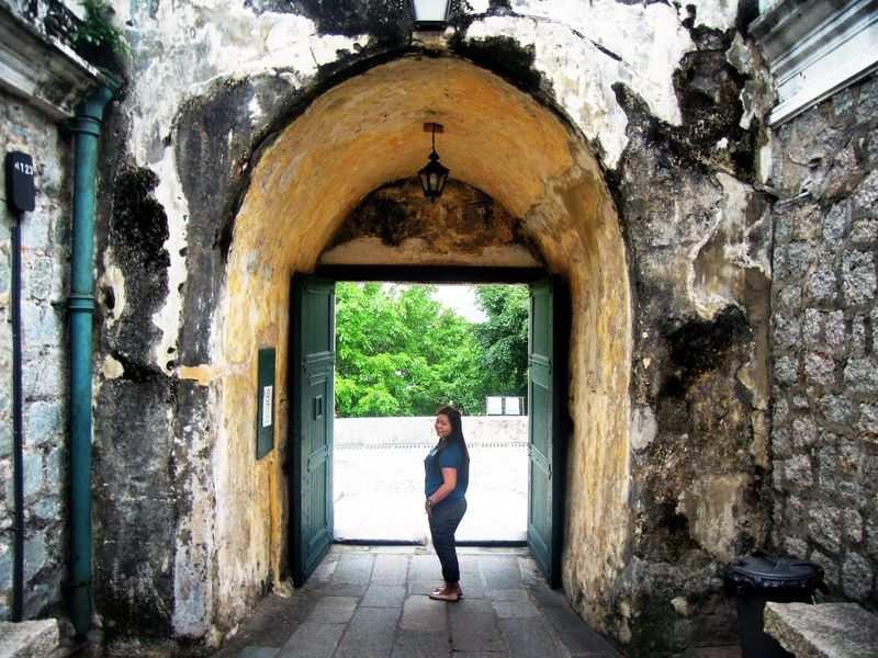 At Fortaleza do Monte's entrance in Macau