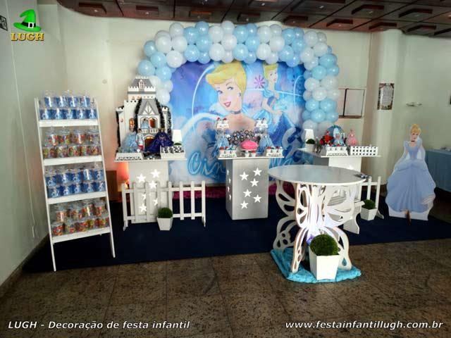 Decoração mesa provençal para festa de aniversário infantil tema Cinderela