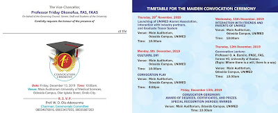 UNIMED Maiden Convocation Ceremony Programme of Events