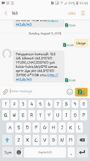 Cara Cek Sisa Qouta Internet IM3 Ooredoo Melalui SMS