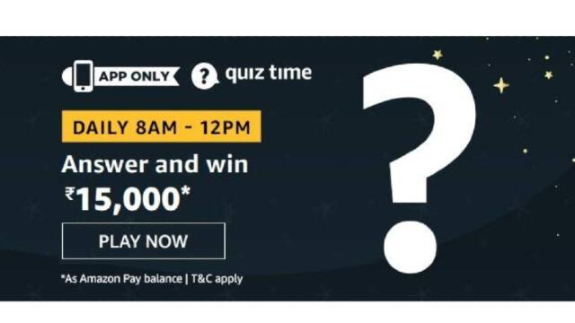 Amazon Quiz Answers Today 20 January win - ₹15000 Pay Balance