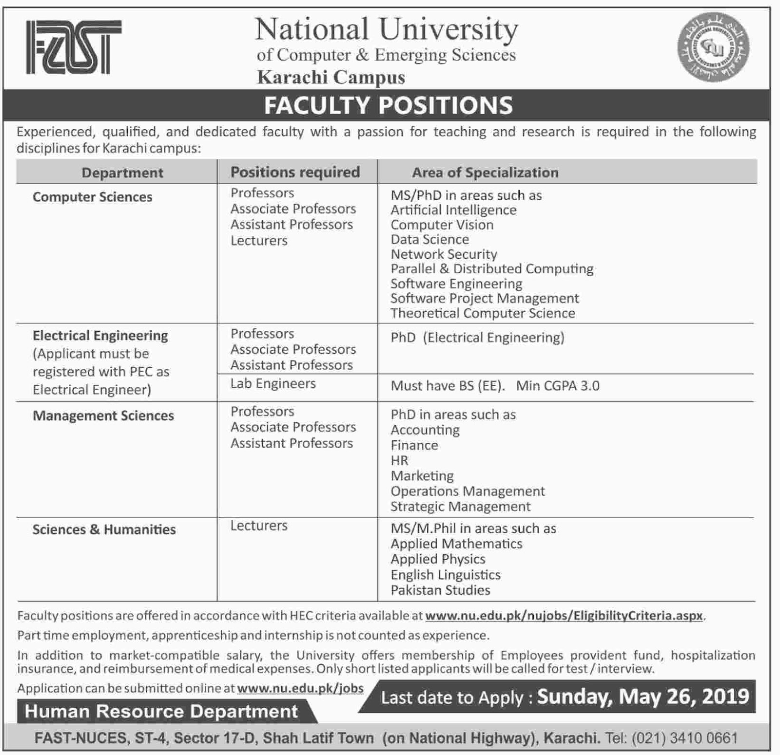 Advertisement of National University of Computer and Emerging Science Jobs