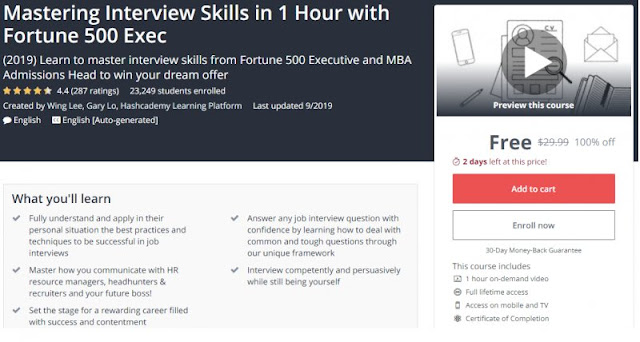 [100% Off] Mastering Interview Skills in 1 Hour with Fortune 500 Exec| Worth 29,99$