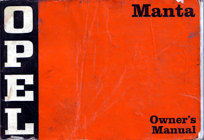 Front cover page from an Opel Manta A series owner's manual
