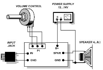 External-Wiring-Layout-Single-IC-2.5W-Amplifier