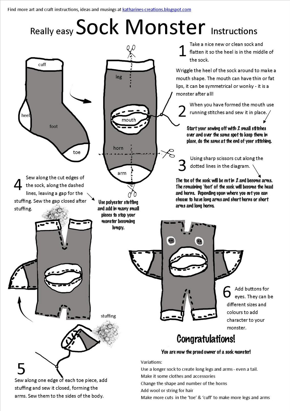 Katharines Creations: Sock Monsters
