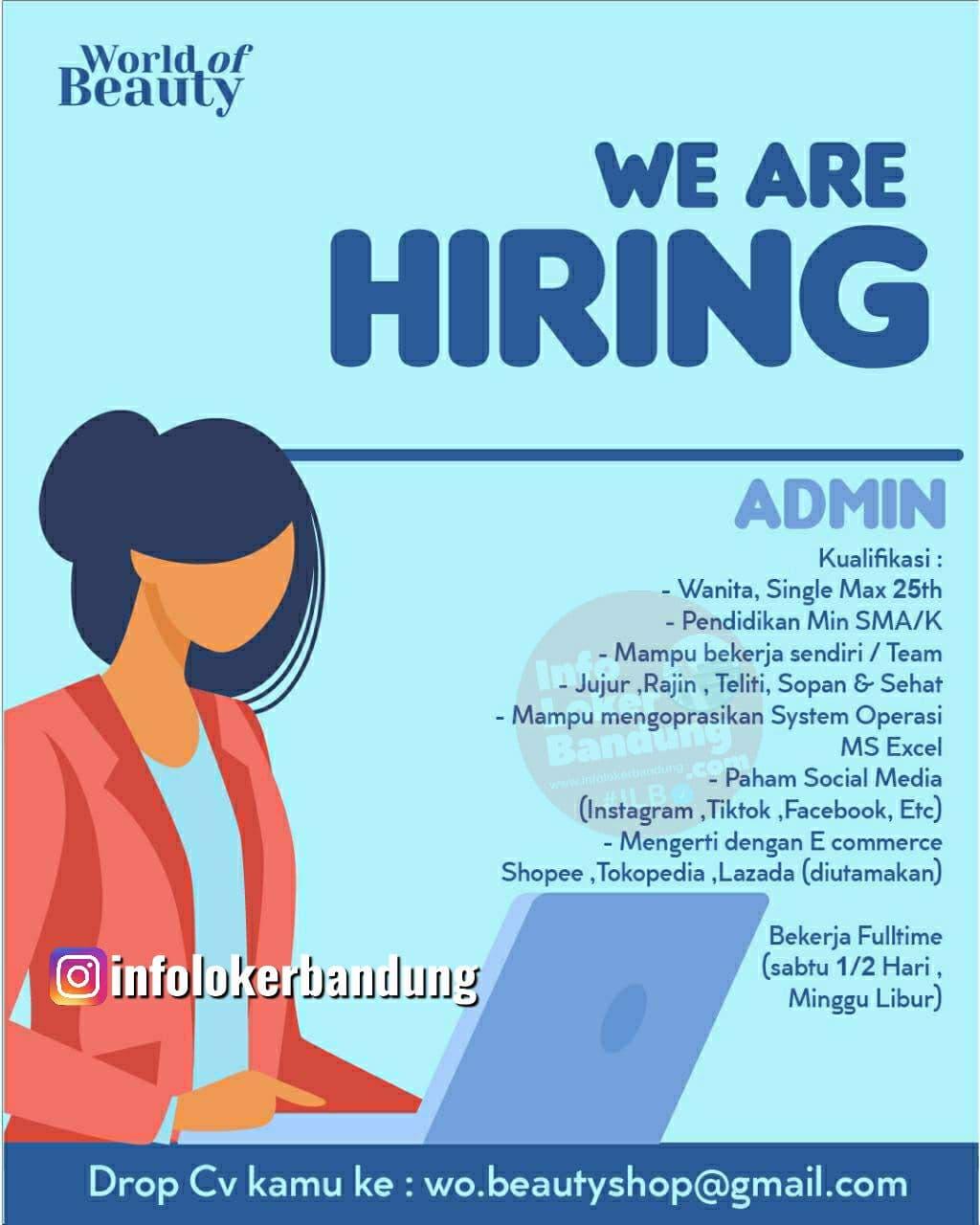 Lowongan Kerja Admin World of Beuaty Shop Bandung Juni 2021