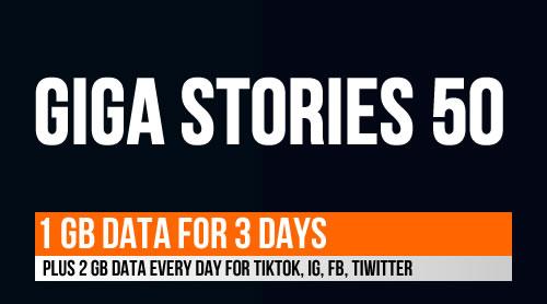 Register GIGA STORIES 50 using *123#