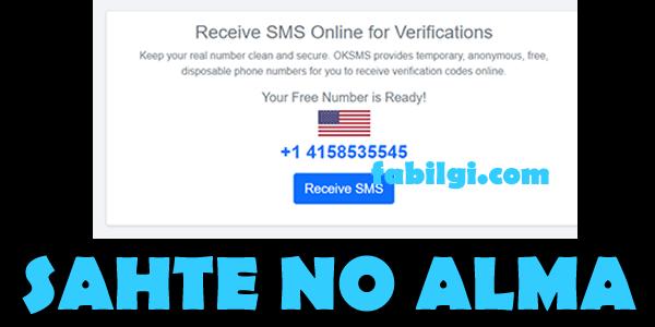 Sahte Telefon Numarası Alma Sitesi Sahte SMS Onayı OKSMS