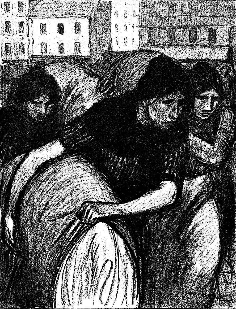 a Theophile-Alexandre Steinlen drawing of women laboring with heavy load