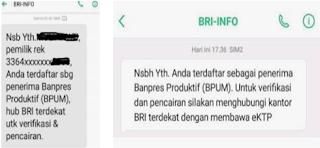 Cek Penerima BLT UMKM Melalui SMS BRI INFO