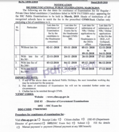 SSC March 2019 - Due Dates for Remittance of Examination Fee , Procedure For Remittance Of Fee ,ఫీ Details ,Rc.149,Dt.28/9/18