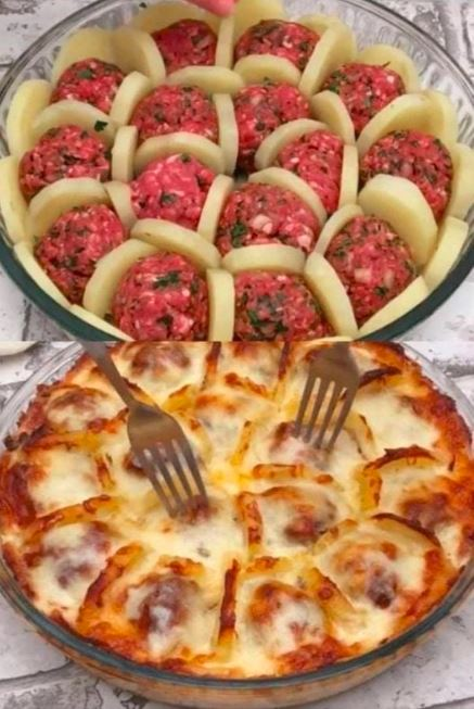 Boil Potatoes With Meatballs And Cheese