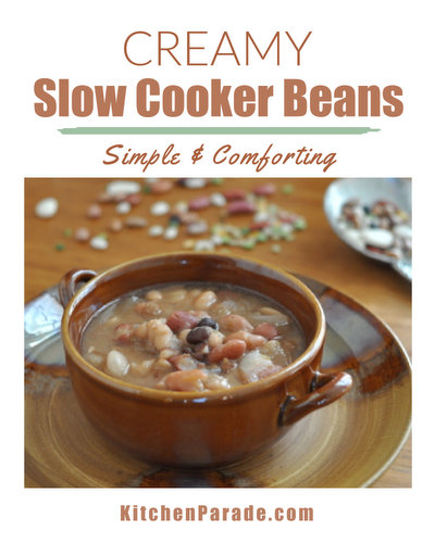 How to Cook Dried Beans from Scratch Mexican-Style in a Slow Cooker ♥ KitchenParade.com, easy, healthy and delicious.