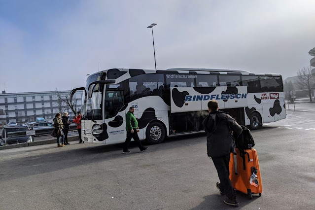 Innsbruck for Christmas: Boarding a bus for Munich Airport