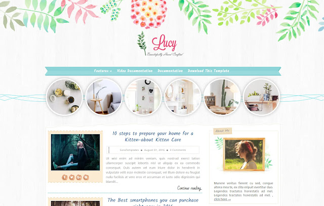 Lucy Responsive Personal Blog Beauty Blog Fashions Lifestyle Blog Diary Girly Updates Blogger Template Theme