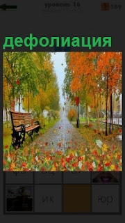 Осенний пейзаж с опавшими листьями дефолиация желтой листвы на земле