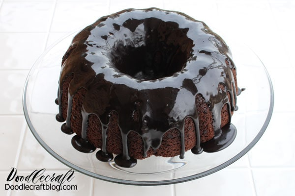Turn a Devils food cake box mix into a Triple Chocolate Fudge Bundt Cake Recipe with drippy fudge topping.