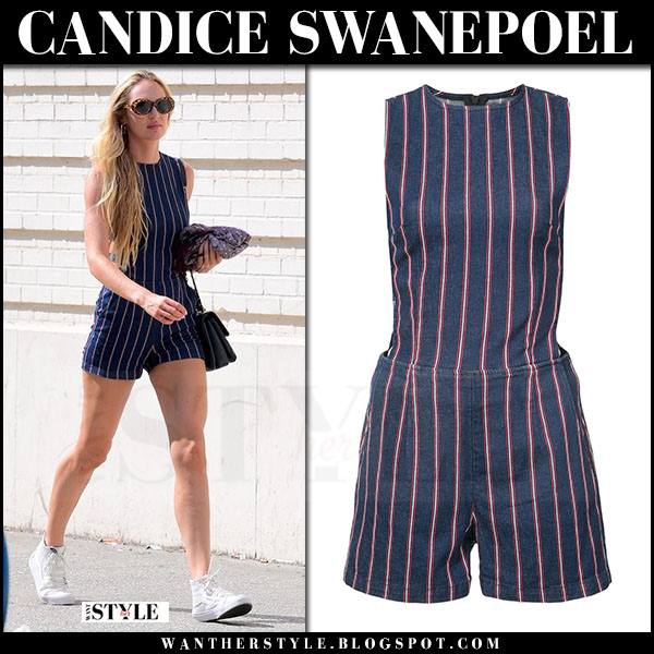 Candice Swanepoel in blue striped short romper 3x1 streetfashion model style july 15 2017