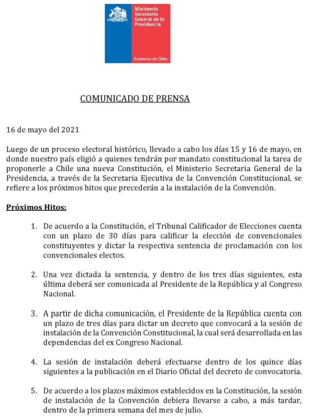 Comunicado oficial Convención Constitucional